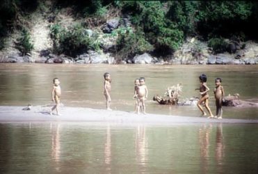 Naked kids in the Mekong