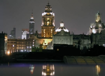 Cathedral from Hostel Moneda at night, Mexico City, DF