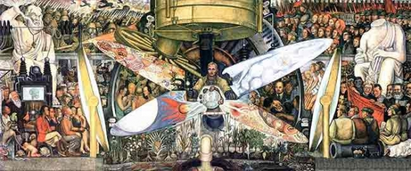 Mural from Diego Rivera with Trosky, Lenin and Marx, DF