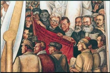Mural from Diego Rivera with Trosky, Lenin and Marx, DF, Mexico City